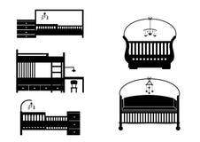 Uppsättning av olika kontursängar och lathundar, vektorillustration Arkivbilder
