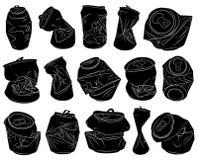 Uppsättning av olika krossade cans royaltyfri illustrationer