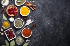Uppsättning av olika kryddor och örter på den svarta stentabellen royaltyfri fotografi