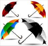 Uppsättning av olika kulöra paraplyer stock illustrationer