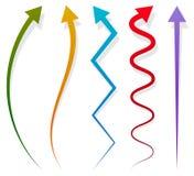 Uppsättning av 5 olika långa vertikala pilbeståndsdelar med skugga stock illustrationer