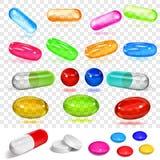 Uppsättning av olika mångfärgade kapslar och preventivpillerar stock illustrationer