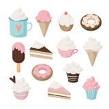 Uppsättning av olika mat- och drinksymboler Isolerade retro illustrationer av kakor, munkar, glass, glasscoupe med garnering, kaf Arkivbild