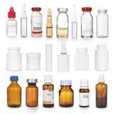 Uppsättning av olika medicinska flaskor Royaltyfria Bilder