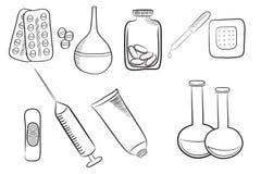 Uppsättning av olika medicinska symboler, olika droger, preventivpillerar och medica royaltyfri illustrationer