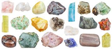 Uppsättning av olika mineralstenar: orpiment, etc. Arkivbild