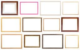 Uppsättning av olika moderna träbildramar Fotografering för Bildbyråer