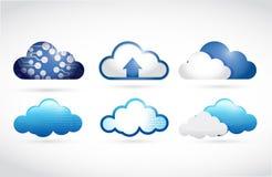 Uppsättning av olika moln. molnberäkning Royaltyfri Fotografi