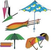 Uppsättning av olika paraplyer Royaltyfri Foto
