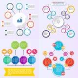 Uppsättning av olika pilar för flödesdiagrambeståndsdelar för att skapa personifierade diagram royaltyfri illustrationer