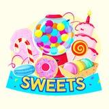 Uppsättning av olika sötsaker, vektorillustration royaltyfri illustrationer
