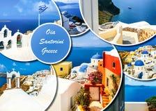 Uppsättning av olika Santorini foto Vila och resa i det Grekland begreppet royaltyfri foto