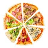 Uppsättning av olika skivor av pizza som isoleras på vit Läcker Fr arkivbilder