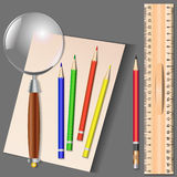 Uppsättning av olika skolaobjekt, vektorillustration Arkivbild