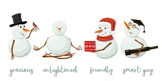 Uppsättning av olika snögubbear Dyrbart frostigt, artigt med gåvan som klargöras, vänskapsmatch, vindögdhet, fågel, yoga vektor illustrationer