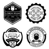 Uppsättning av olika sportar och svartvita logomallar för kondition Royaltyfri Fotografi