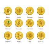 Uppsättning av olika symboler av cryptocurrencyen Fotografering för Bildbyråer