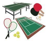 Uppsättning av olika symboler för tennis Arkivbilder