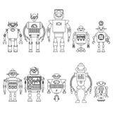 Uppsättning av olika tecknad filmrobottecken, linje stil som för astronautcyborgsymboler isoleras på vit bakgrund Fotografering för Bildbyråer
