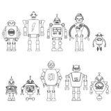 Uppsättning av olika tecknad filmrobottecken, linje stil som för astronautcyborgsymboler isoleras på vit bakgrund Arkivbilder