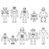 Uppsättning av olika tecknad filmrobottecken, linje stil som för astronautcyborgsymboler isoleras på vit bakgrund Royaltyfri Foto