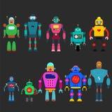 Uppsättning av olika tecknad filmrobottecken, linje stil som för astronautcyborgsymboler isoleras på vit bakgrund Royaltyfria Bilder