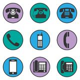 Uppsättning av olika telefonsymboler Arkivbilder