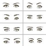 Uppsättning av olika typer av ögon vektor illustrationer