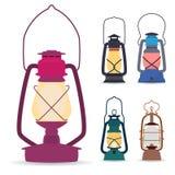 Uppsättning av olika typer av olje- lampor i en plan stil royaltyfri illustrationer