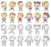 Uppsättning av olika ungar med olika sinnesrörelser vektor illustrationer