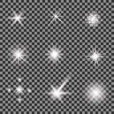 Uppsättning av olika vita ljus royaltyfri illustrationer