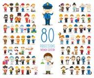 Uppsättning av 80 olika yrken i tecknad filmstil Kvinnaupplaga stock illustrationer