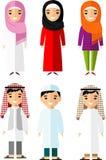 Uppsättning av olikt arabiskt folk för tecknad film i plan stil Arkivfoton