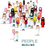 Uppsättning av olikt arabiskt folk för tecknad film i plan stil Royaltyfri Fotografi