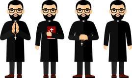 Uppsättning av olikt ett religiös folk, präst och nunna i färgrik plan stil Arkivbilder