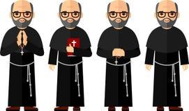 Uppsättning av olikt ett religiös folk, präst och nunna i färgrik plan stil Arkivfoto