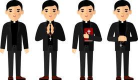 Uppsättning av olikt ett religiös folk, präst och nunna i färgrik plan stil Arkivfoton