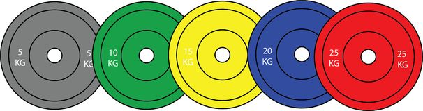 Uppsättning av olympiska tyngdlyftningplattor royaltyfri illustrationer