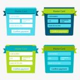 Uppsättning av online-betalningformer Arkivfoto