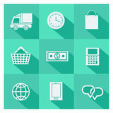 Uppsättning av online-shopping- och ecommercesymboler Royaltyfria Bilder