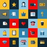 Uppsättning av online-shoppingsymboler för plan vektor Arkivbilder