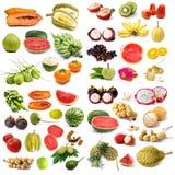 Uppsättning av organisk frukt royaltyfria foton