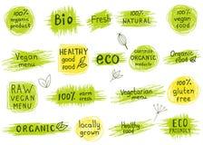 Uppsättning av organiskt, naturligt, bio, eco, sunda matetiketter vektor illustrationer