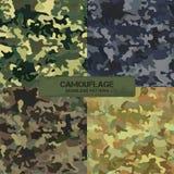 Uppsättning av original- kamouflagemodeller Seamless bakgrunder royaltyfri illustrationer