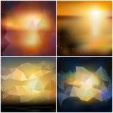 Uppsättning av oskarpa bakgrunder abstrakt geometriskt stock illustrationer