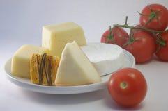 Uppsättning av ost, körsbär-tomater Royaltyfria Foton