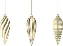 Uppsättning av ovala guld- julstruntsaker Arkivfoton