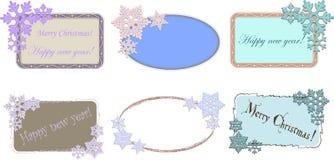 Uppsättning av ovala och rektangulära ramar med snöflingor för jul eller design för nytt år vektor illustrationer