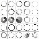 Uppsättning av päfyllningsstatussymboler stock illustrationer