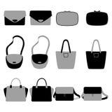 Uppsättning av påsar för grå färger och för svart fashionably Arkivbilder